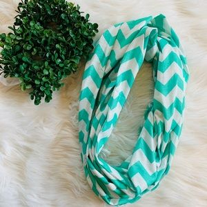 Nwot mint green and white chevron infinity scarf
